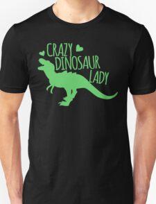 CRAZY dinosaur Lady in green Unisex T-Shirt