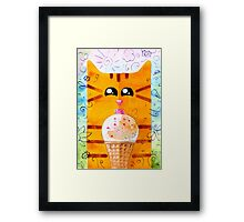 Cat and Ice Cream Framed Print
