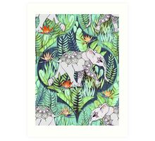 Little Elephant on a Jungle Adventure – faded vintage version Art Print