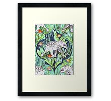 Little Elephant on a Jungle Adventure – faded vintage version Framed Print