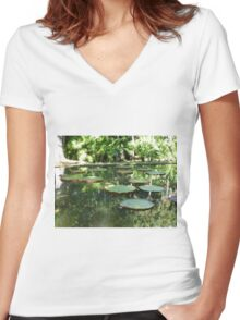 Water Lilies, Botanic Garden, Mauritius Women's Fitted V-Neck T-Shirt