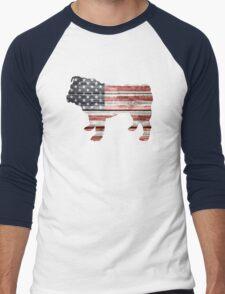 Patriotic Bulldog, American Flag Men's Baseball ¾ T-Shirt