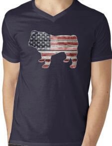 Patriotic Bulldog, American Flag Mens V-Neck T-Shirt