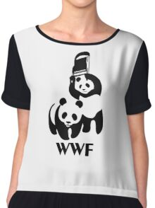 WWF Parody Panda Chiffon Top
