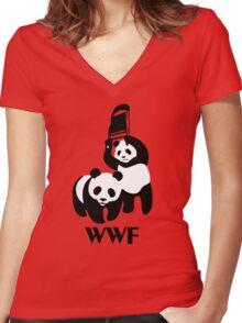 WWF Parody Panda Women's Fitted V-Neck T-Shirt