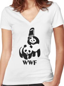 WWF Parody Panda Women's Fitted V-Neck T-Shirt