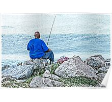 Fishing From the Rocky Shore Poster