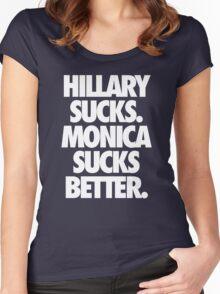 HILLARY SUCKS. MONICA SUCKS BETTER. - Alternate Women's Fitted Scoop T-Shirt