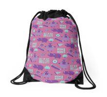 Hungry Hippo Pattern by Holly Shropshire Drawstring Bag