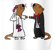 Cool Funny Otters Getting Married Poster