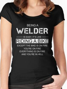 Being a Welder is like Riding a Bike Women's Fitted Scoop T-Shirt