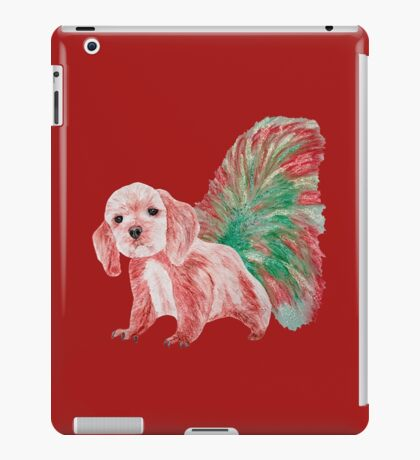 Half cute dog & half squirrel (red+green) iPad Case/Skin