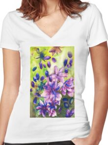 Blue Chaos Women's Fitted V-Neck T-Shirt