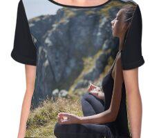 Woman practicing yoga on mountain Chiffon Top