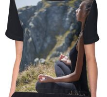 Woman practicing yoga on mountain Chiffon Top