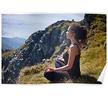 Woman practicing yoga on mountain Poster