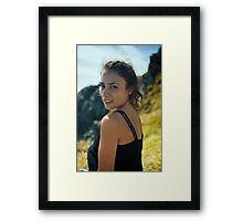 Young lady closeup outdoor Framed Print