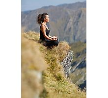 Woman practicing yoga on mountain Photographic Print
