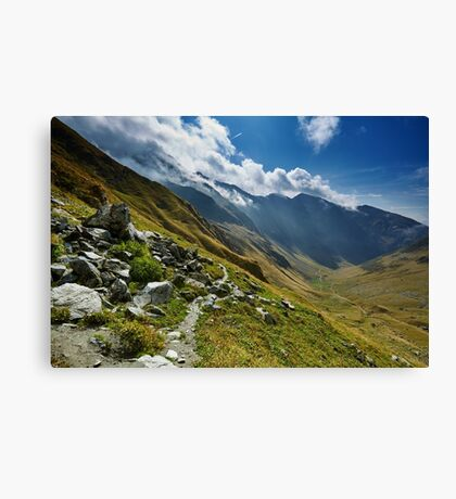 Hiking trail in the mountains Canvas Print