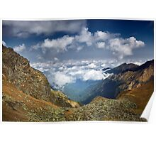 Mountains landscape with clouds Poster