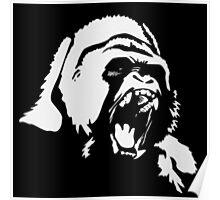 Gorilla White on Black Poster