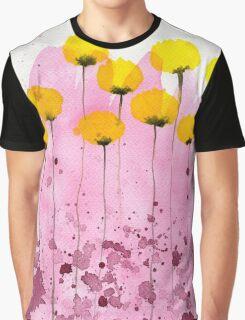 Pink Lemonade - Yellow Watercolor Flowers Graphic T-Shirt