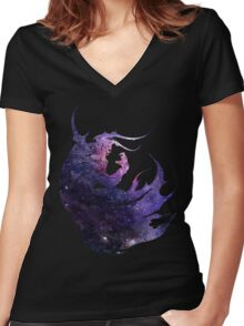 Final Fantasy IV logo universe Women's Fitted V-Neck T-Shirt