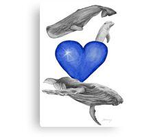 Loving marine mammals - version blue Canvas Print