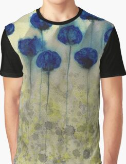Foggy Day Flowers - Blue Grey Yellow Flowers Graphic T-Shirt