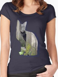 Shaped-Black Kitten Explorer Women's Fitted Scoop T-Shirt
