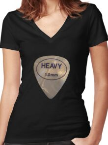 Rock & Roll Guitar Pick - Heavy Women's Fitted V-Neck T-Shirt