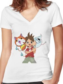 Yokai Watch : Anime 1 Women's Fitted V-Neck T-Shirt