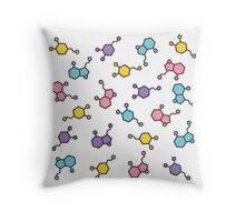 Be Happy Molecules Throw Pillow