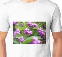 Closeup of beautyberry (Callicarpa dichotoma) fruit. Unisex T-Shirt