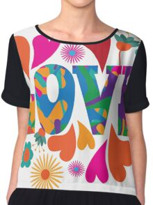 Sixties style mod pop art psychedelic colorful Love text design. Chiffon Top