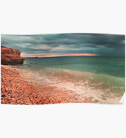 sea waves lapping on shore Poster