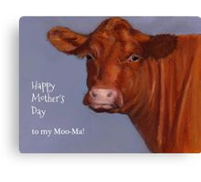 Funny Mother's Day, To My Moo-ma: Cow Portrait, Pastel Canvas Print