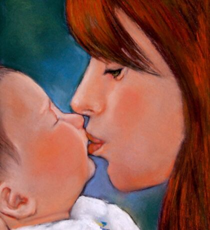 Mom and Baby, Mother Kissing Baby, Pastel Art Sticker