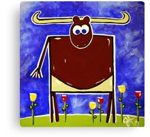 Just Bull Texas Longhorn Cattle Fun Happy Kids Room Rancher Canvas Print