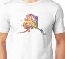 Alaska US State in watercolor text cut out Unisex T-Shirt