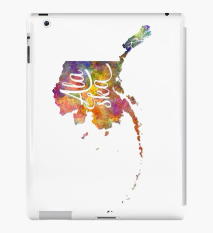 Alaska US State in watercolor text cut out iPad Case/Skin