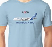 """Illustration of Airbus A380 """"Love at First Flight"""" - Blue Version Unisex T-Shirt"""