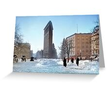 Colorized 1906 photograph of the Flatiron building in NY Greeting Card