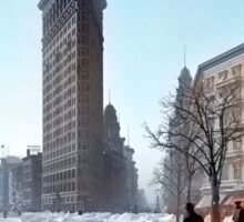 Colorized 1906 photograph of the Flatiron building in NY Sticker