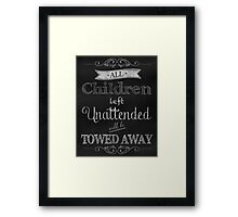 Humorous Chalkboard typography business decor Framed Print