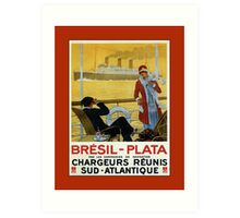 Vintage 1920s ocean liner cruises to Brazil Plata advert Art Print