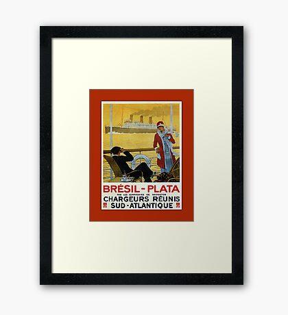 Vintage 1920s ocean liner cruises to Brazil Plata advert Framed Print