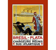 Vintage 1920s ocean liner cruises to Brazil Plata advert Photographic Print