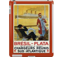 Vintage 1920s ocean liner cruises to Brazil Plata advert iPad Case/Skin