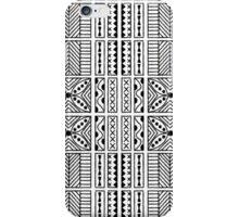 Black and White Geometric Hawaiian Bark Cloth Tribal Tattoo Markings Kapa iPhone Case/Skin
